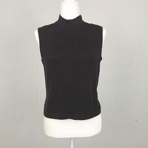 St John Dark Brown Sleeveless Knit Sweater Top
